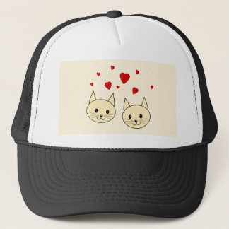 Two Cute Amber Color Cats with Red Hearts. Trucker Hat