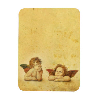 Two cute baby angels painting magnet