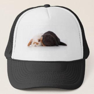 Two cute baby bunnies trucker hat