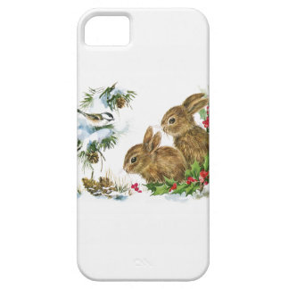 Two Cute Bunnies in Winter iPhone 5 Cases