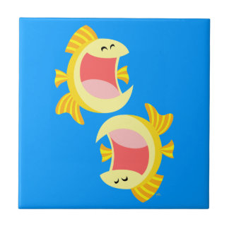Two Cute Cartoon Fish Tiles and Trivets