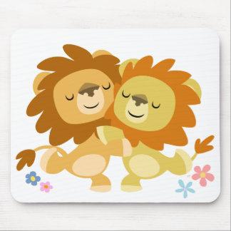 Two Cute Cartoon Lions Tango Mousepad