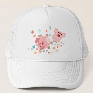 Two Cute Cartoon Pigs in Spring Hat