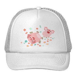 Two Cute Cartoon Pigs in Spring Hat