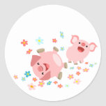 Two Cute Cartoon Pigs in Spring Sticker