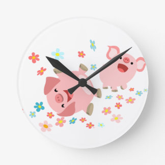 Two Cute Cartoon Pigs in Spring Wall Clock