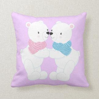 Two Cute Cartoon Polar Bears Throw Pillow