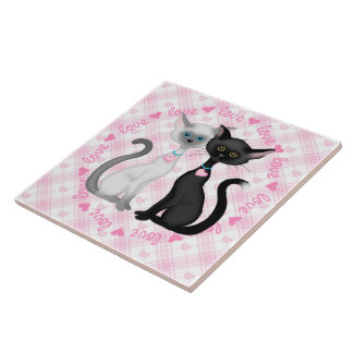 Two Cute Cats in Love Large Square Tile
