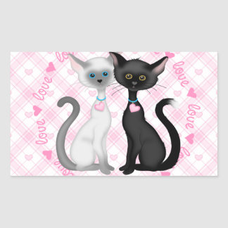 Two Cute Cats in Love Rectangular Sticker