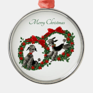 Two Cute Christmas Poodles in Wreaths Christmas Ornament