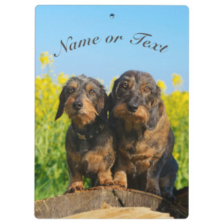 Two Cute Dachshund Dogs Dackel on a  Personalized Clipboard
