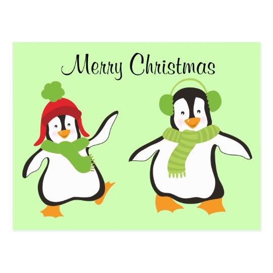 Two Cute Dancing Cartoon Penguins Postcard