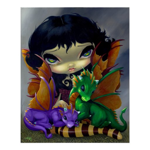 Two Cute Dragonlings ART PRINT dragon fairy