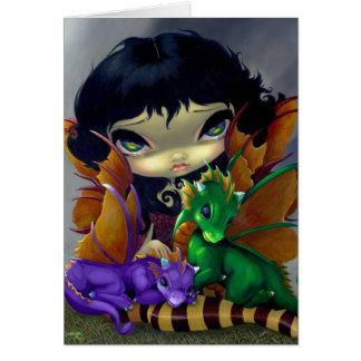 """Two Cute Dragonlings"" Greeting Card"