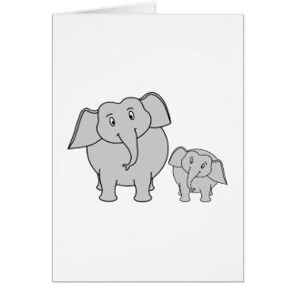 Two Cute Elephants. Cartoon. Card