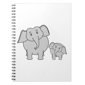 Two Cute Elephants. Cartoon. Notebook