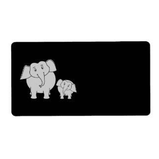 Two Cute Elephants. Cartoon on Black.