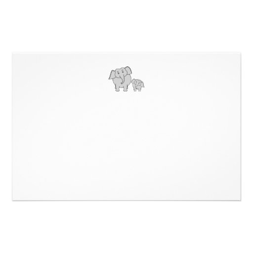 Two Cute Elephants. Cartoon. Personalised Stationery