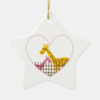 Two cute giraffes in a dotted heart Mother Child Christmas Ornament
