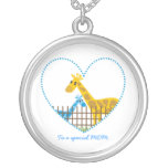 Two cute giraffes Mother baby boy Mother's Gift Round Pendant Necklace