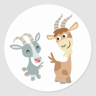Two Cute Happy Cartoon Goats Sticker