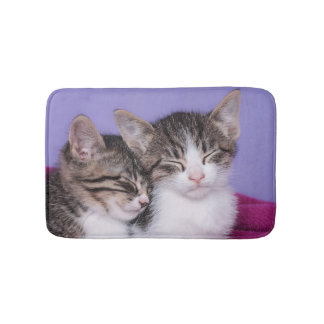 Two Cute Kittens Napping Bath Mat