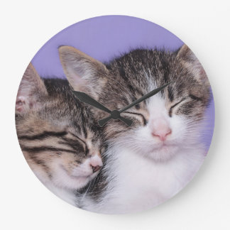 Two Cute Kittens Napping Large Clock