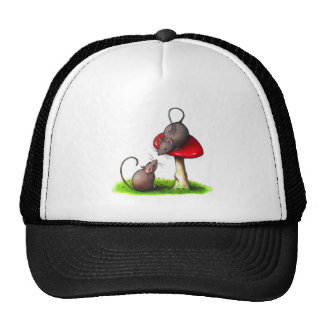 Two Cute Little Mice and a Toadstool: Artwork Mesh Hat