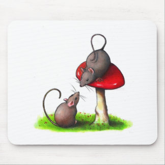 Two Cute Little Mice and a Toadstool: Artwork Mouse Mat