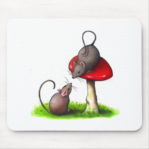 Two Cute Little Mice and a Toadstool: Artwork Mousepad