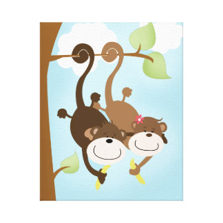 Two Cute Monkeys Canvas Art Print