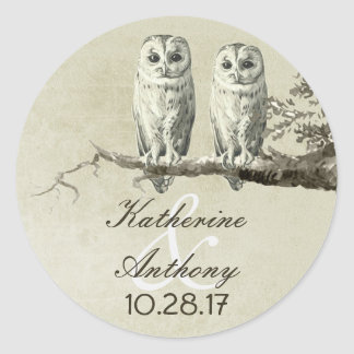 Two cute owls wedding stickers