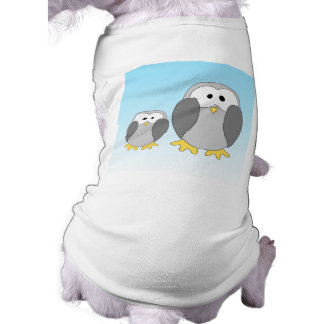 Two Cute Penguins. Cartoon on Sky Blue. Shirt