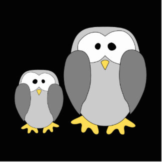 Two Cute Penguins. Cartoon. Photo Sculpture Magnet