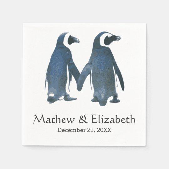 Two Cute Penguins   Romantic Wedding Paper Napkins