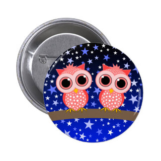 two cute pink owls 6 cm round badge