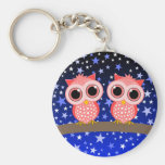 two cute pink owls basic round button key ring