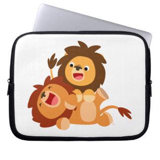 Two Cute Playful Cartoon Lions Laptop Case