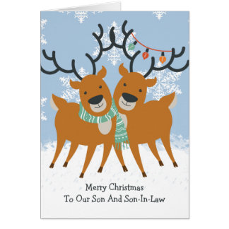 Two Cute Reindeer Gay Pride Christmas Card