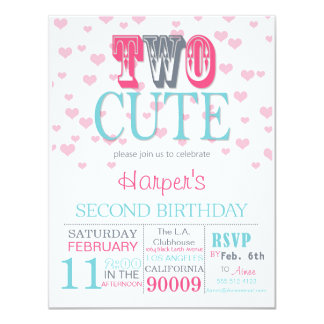 Two Cute Valentine's Day 2nd Birthday Invitation