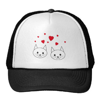 Two Cute White Cats with Red Hearts Trucker Hats