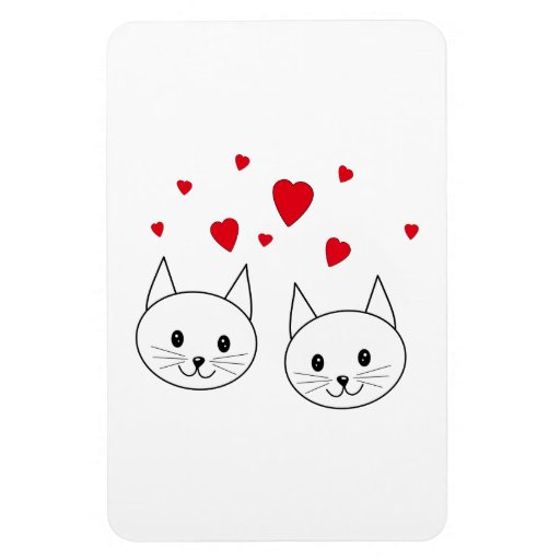 Two Cute White Cats with Red Hearts. Rectangular Magnet