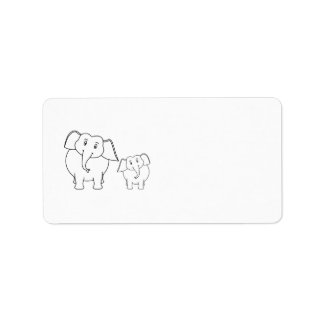 Two Cute White Elephants. Cartoon. Label