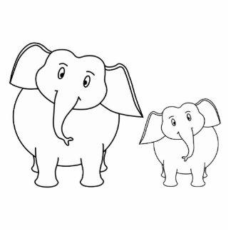 Two Cute White Elephants Cartoon Cut Outs