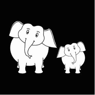 Two Cute White Elephants on Black Cartoon Photo Cutouts