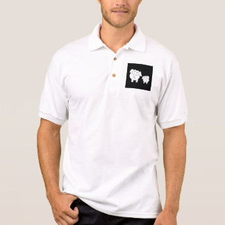Two Cute White Elephants on Black. Cartoon. Polo Shirt