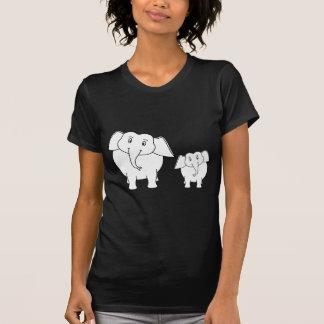 Two Cute White Elephants on Black. Cartoon. Shirt