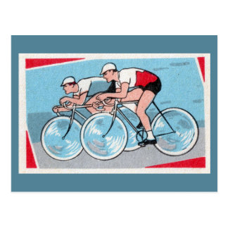 Two Cyclists Vintage Print Postcard