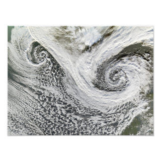 Two cyclones formed in tandem south of Iceland Photographic Print