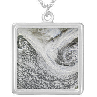 Two cyclones formed in tandem south of Iceland Silver Plated Necklace